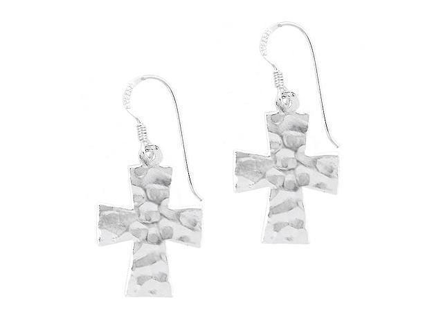 Sterling Silver .925 Hammered design cross dangle Earrings