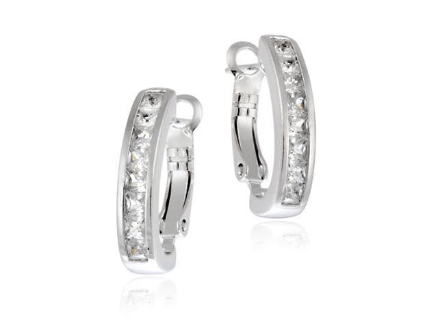 Sterling Silver Square Princess-Cut CZ Half Hoop Earrings