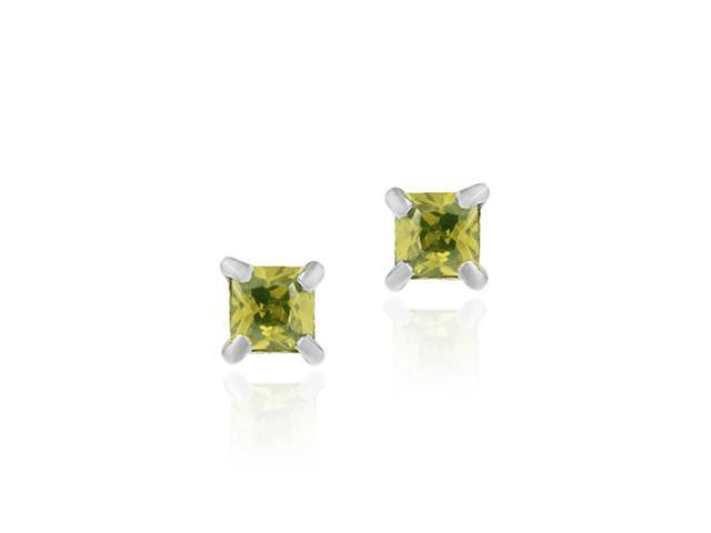 Sterling Silver Olive Green cz Square 4mm Stud Earrings