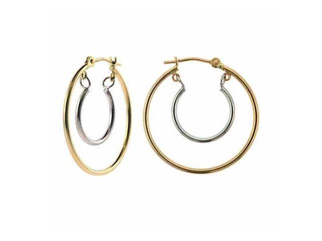 14K Yellow Gold and White Gold Hoop Within A Hoop Earrings
