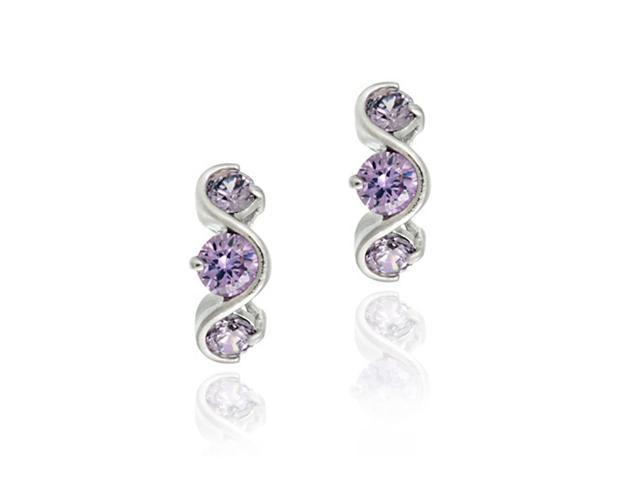 Sterling Silver Simulated Amethyst Three Stone S Design Earrings