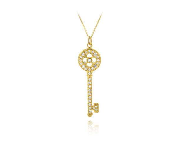 18K Gold over Sterling Silver Designer Inspired CZ Key Pendant