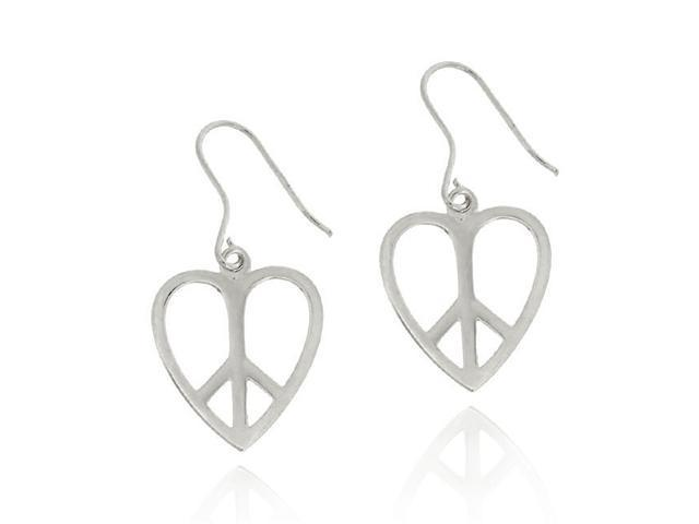 Sterling Silver Heart Peace Sign Earrings
