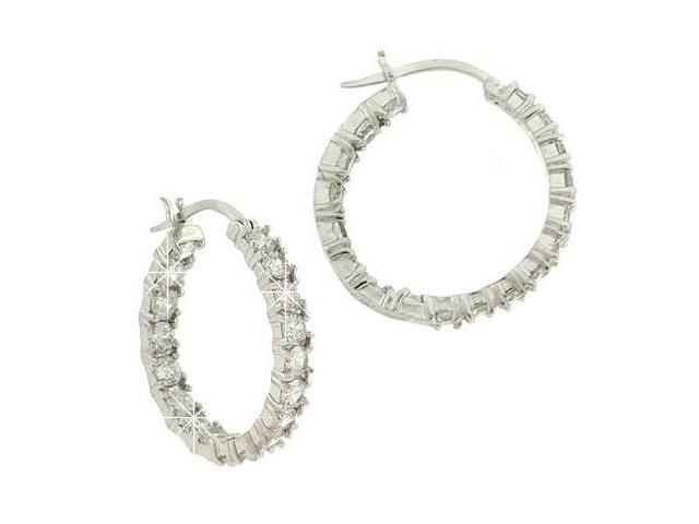 Sterling Silver Diamond cz Pave 24mm Hoop Earrings