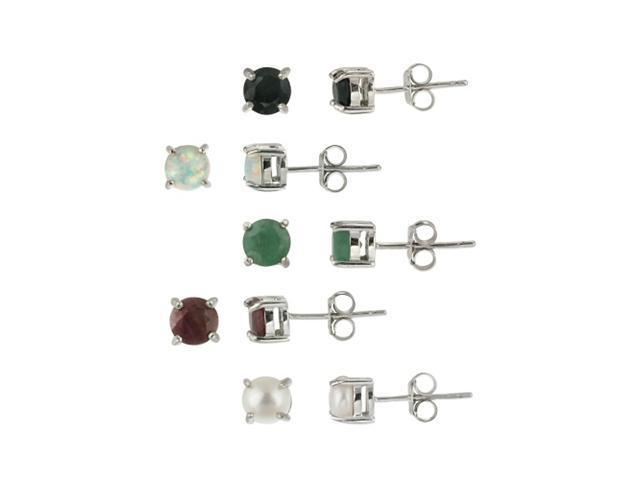 Sterling Silver 5mm Round Genuine Ruby, Sapphire, Emerald, Opal and Pearl Stud E