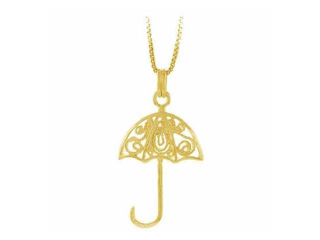 Vermeil (24k Gold over Sterling Silver) Filigree Umbrella Pendant
