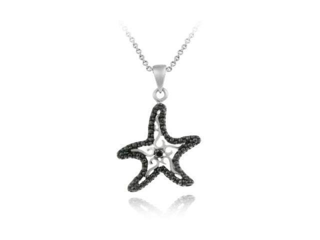 Sterling Silver Black Diamond Accent Starfish Pendant