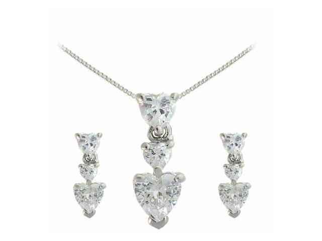Sterling Silver Simulated Diamond cz Graduating Heart Earring and Slide Pendant