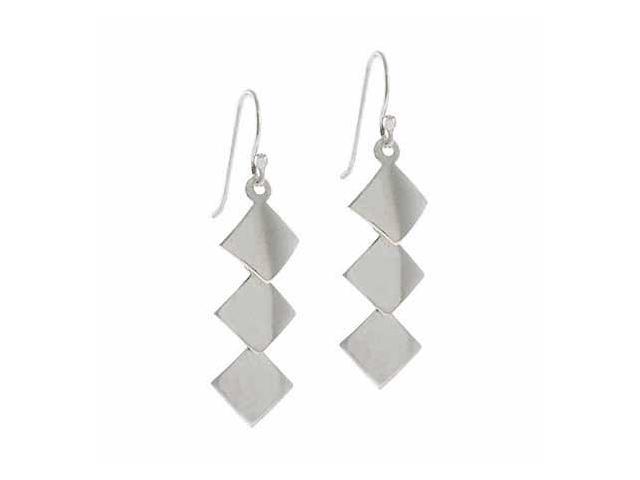 Sterling Silver Diamond shaped Disc Dangle Drop Chandelier Earrings