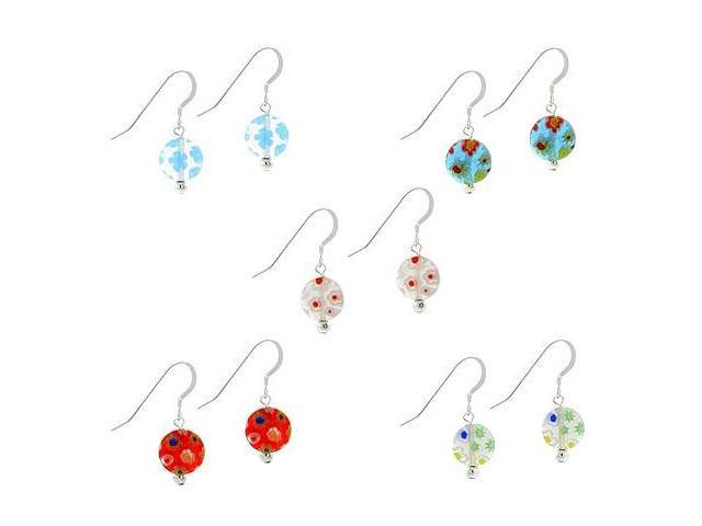 Murano Glass Millefiori Flower Sterling Silver .925 Disc Earrings Set