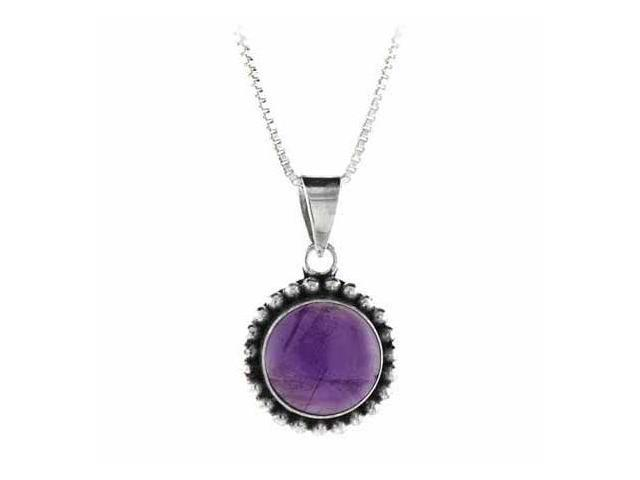 Sterling Silver Genuine Cabochon Amethyst Stone Bali Beaded Circle Pendant