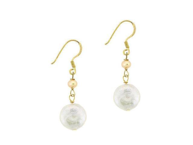 18K Gold over Sterling Silver Freshwater Cultured White & Pink Coin Pearl Dangle