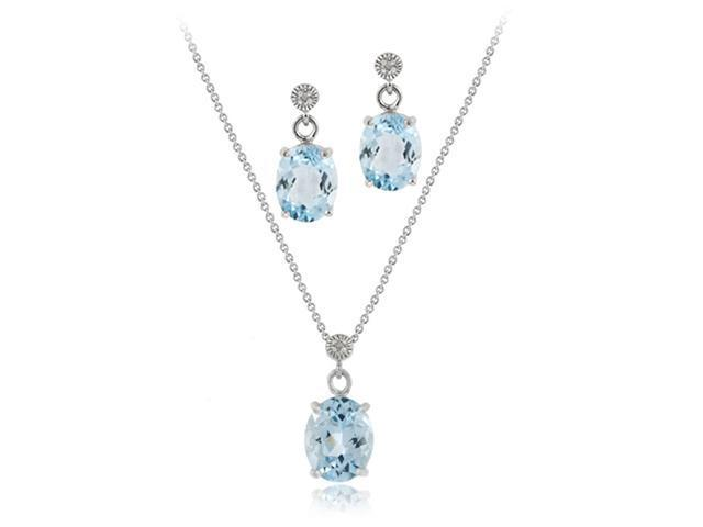 Sterling Silver 6.60 TCW Oval Blue Topaz and Diamond Pendant Earring Set