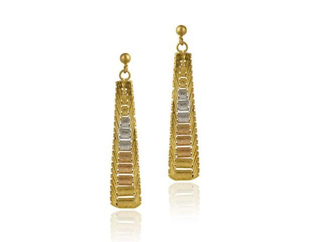 18K Gold over Sterling Silver Tri Color Triangle Dangle Earrings