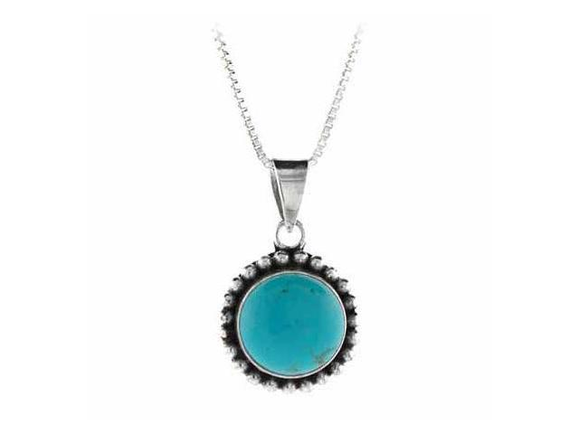 Sterling Silver Reconstituted Blue Turquoise Stone Bali Beaded Circle Pendant