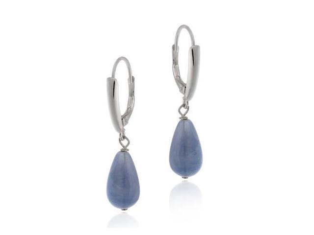 Sterling Silver Simulated Blue Agate Tear Drop LeverBack Lever Back Earrings