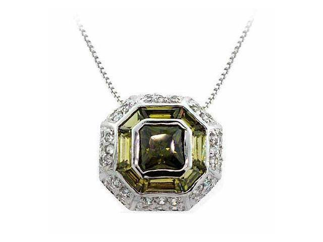Sterling Silver Modern Octagon Olive Green cz and Simulated Diamond cz Pendant