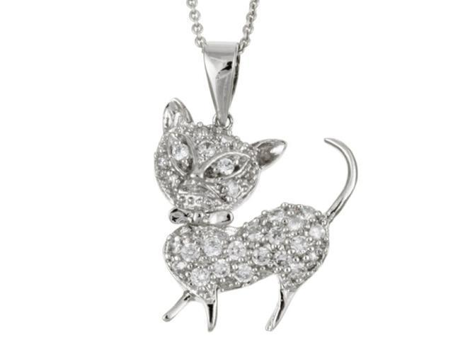 Sterling Silver Cubic Zirconia Cat Pendant