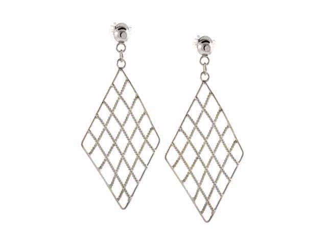 Sterling Silver Diamond Filigree Dangling Earrings