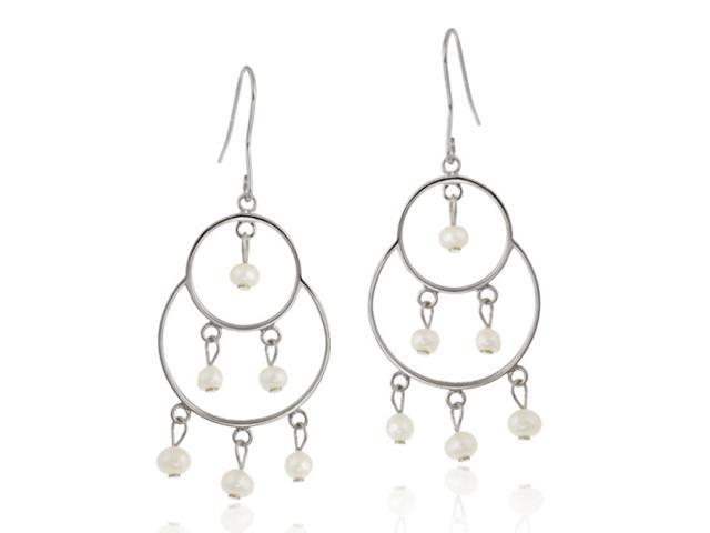 Sterling Silver Freshwater Cultured White Pearl Double Circle Dangling Chandelie