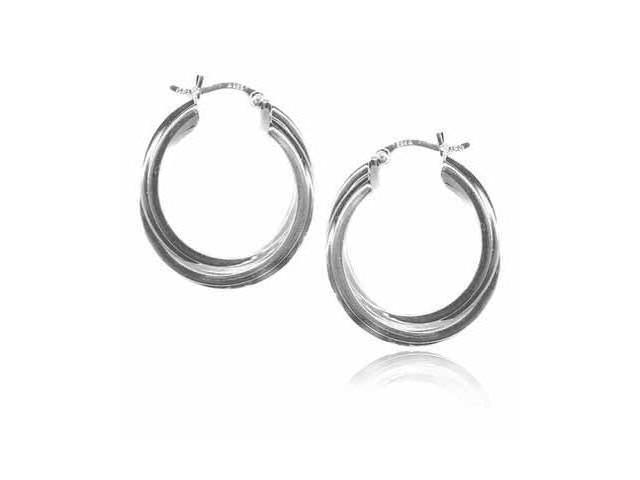 Silver Double Intertwined Hoop Earrings