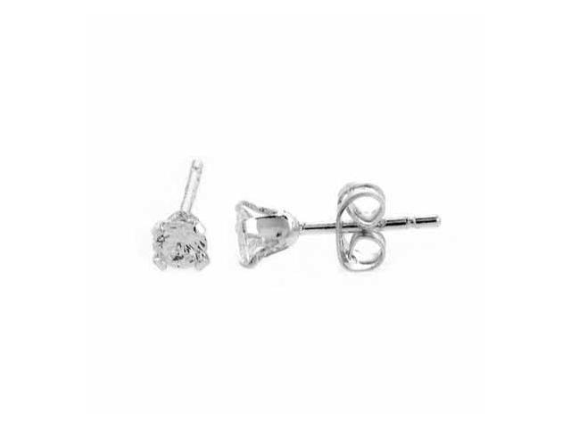 Sterling Silver Round Simulated Diamond cz Stud Earrings
