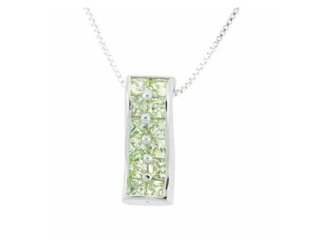 Sterling Silver Light Green cz Rectangle Pendant