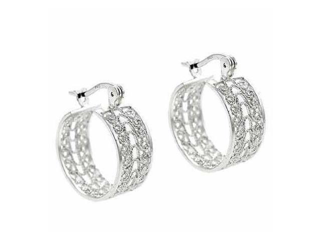 Sterling Silver Delicate Filigree Design 23mm Hoop Earrings