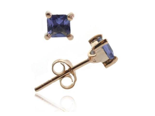 18K Rose Gold over Sterling Silver Tanzanite CZ 4mm Square Stud Earrings