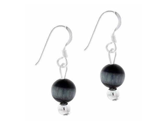 Sterling Silver 6mm Simulated Black Cats Eye Stone Bead Beaded Dangle Hook Earri