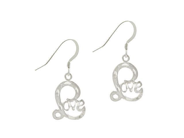 Sterling Silver .925 D Cut Design 'Love'  Word Dangle Earrings
