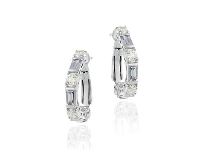 Simulated Diamond CZ and Lavender CZ Sterling Silver Earrings