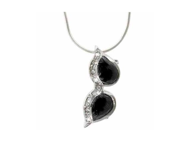 Sterling Silver Black and Simulated Diamond CZ Sunglasses Pendant