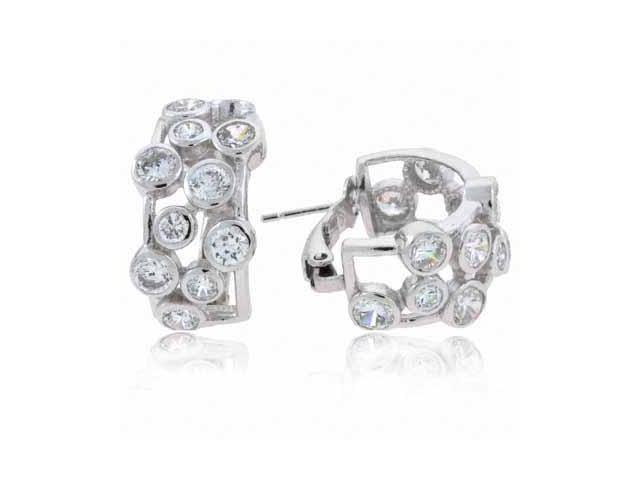 Sterling Silver Designer Simulated Diamond CZ Bubble Hoop Earrings