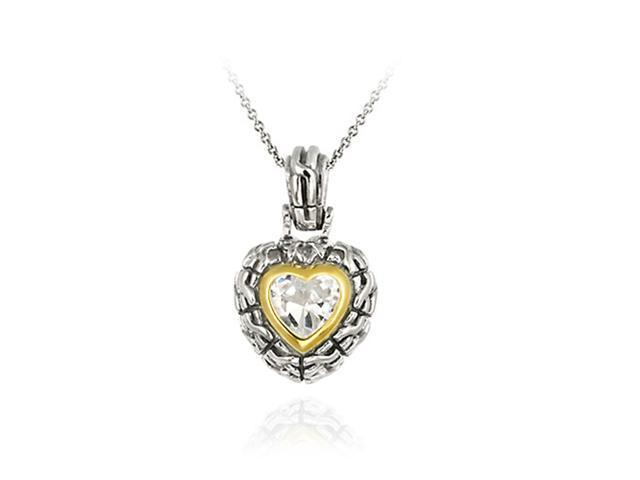 Sterling Silver Two Tone Designer Inspired CZ Heart Pendant w/ Braided Border