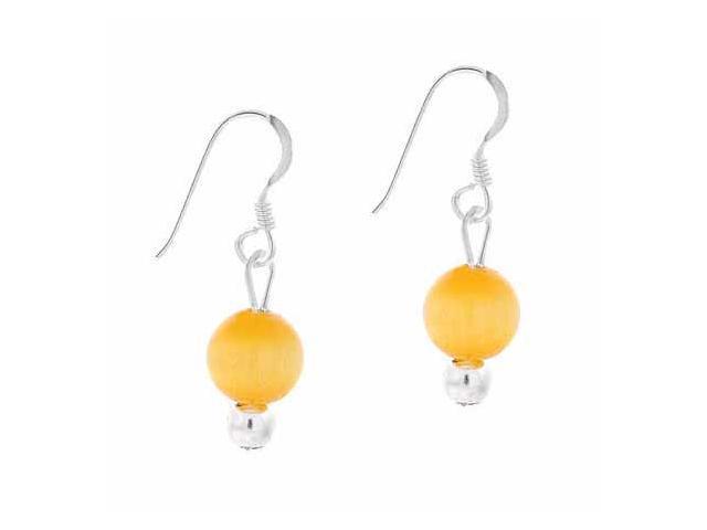 Sterling Silver 6mm Simulated Light Orange Cats Eye Stone Bead Beaded Dangle Hoo
