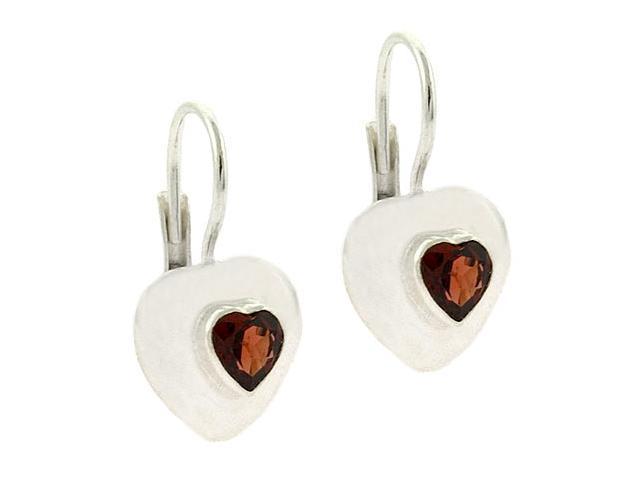 Bold Sterling Silver Genuine Garnet stone Heart LeverBack Lever Back Earrings