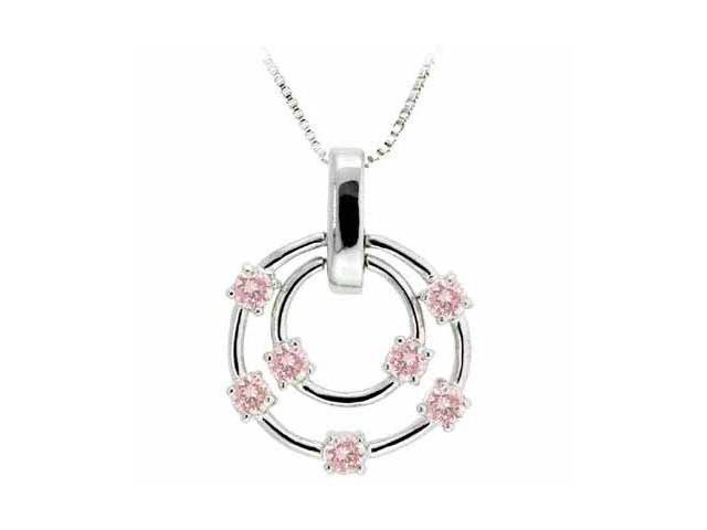 Sterling Silver Floating Pink Cubic Zirconia Double Circle Pendant