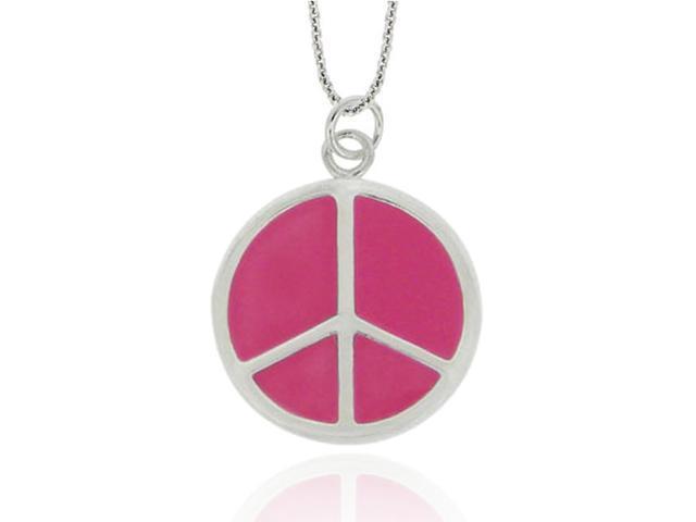 Sterling Silver Pink Enamel Peace Sign Pendant