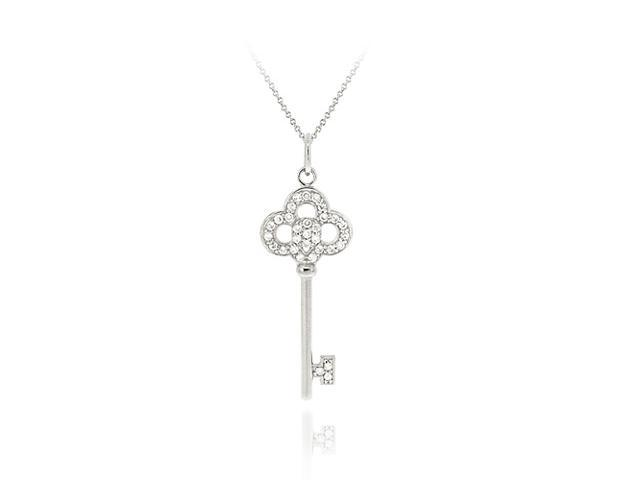 Sterling Silver Designer Inspired CZ Crown Key Pendant