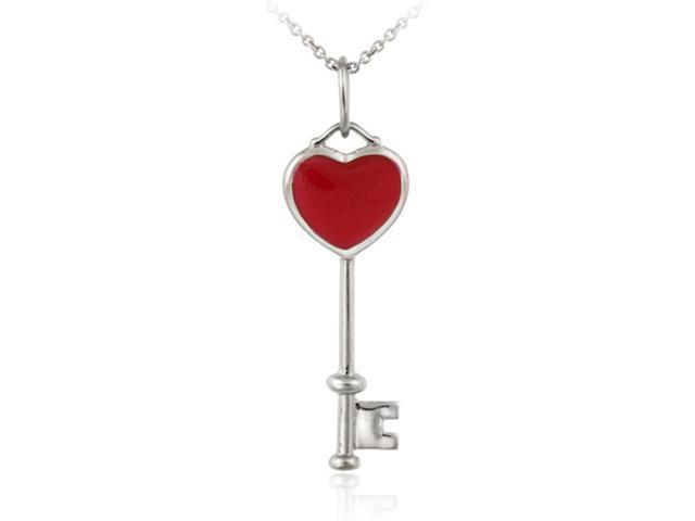 Sterling Silver Designer Inspired Red Enamel Key Pendant