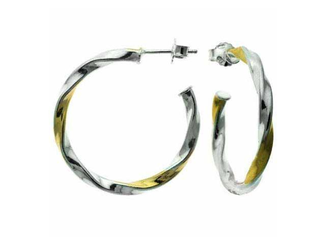 Sterling Silver and Gold Overlay Two Tone Twist Hoop Earrings