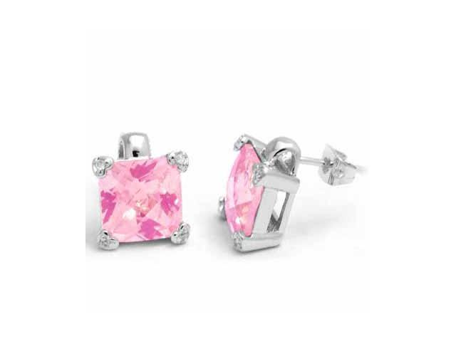 Sterling Silver Pink Cubic Zirconia and Simulated Diamond CZ Heart Square Stud E