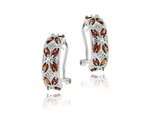 Sterling Silver 5.46ct. Garnet & Diamond Half Hoop Earrings