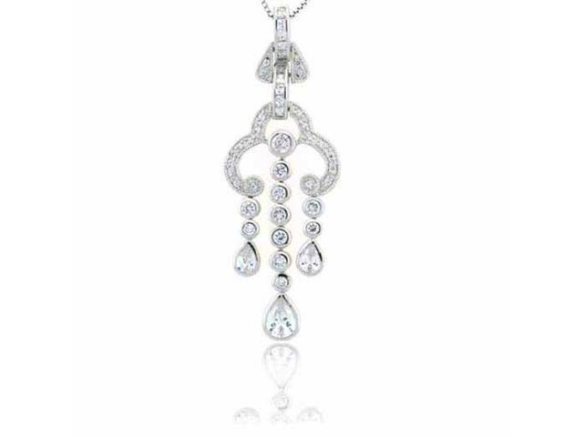 Sterling Silver Designer Simulated Diamond CZ  Chandelier Pendant