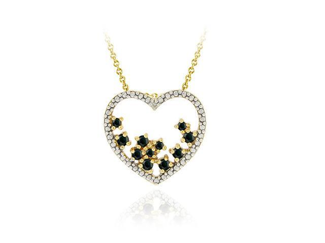 18K Gold Over Sterling Silver Sapphire Cluster & Diamond Accent Open Heart Slide