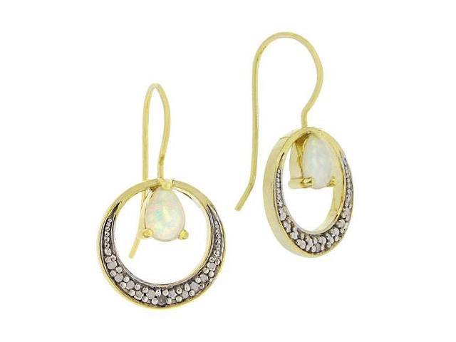 18K Gold over Silver Created Opal & Diamond Accent Open Circle Earrings