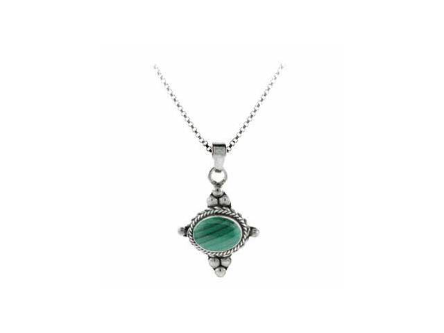 Sterling Silver Bali Beaded Genuine Malachite Stone East West Pendant