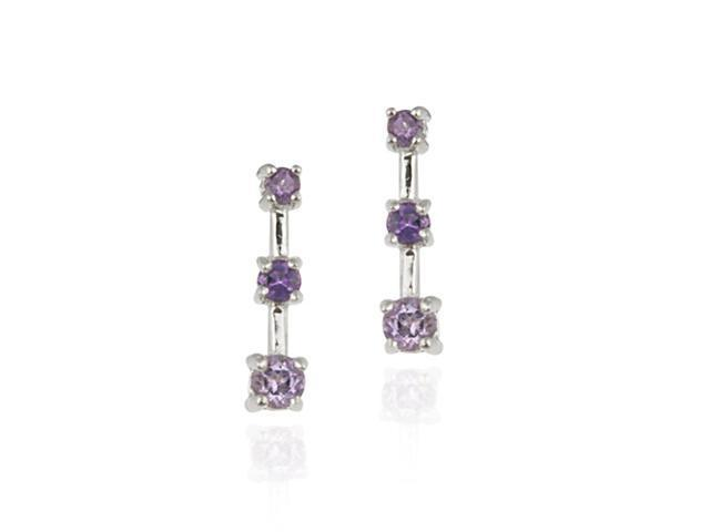 Sterling Silver Genuine Amethyst Past Present Future Earrings