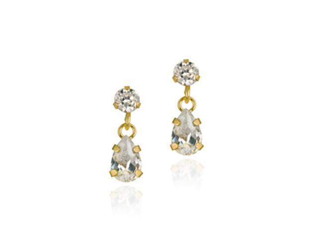 10K Gold CZ Teardrop Mini Dangle Earrings